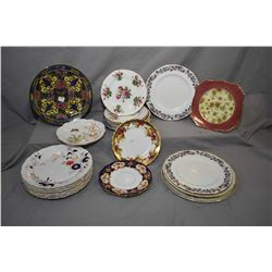 Large selection of china and semi porcelain plates including Royal Crown Derby, Royal Chelsea, Hamme
