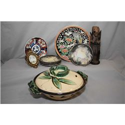 Selection of Oriental porcelain plates and collectibles including a bird motif hand painted plate, f