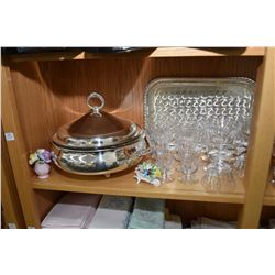 Shelf lot of collectibles including English made crystal stemware, silver-plate including water pitc