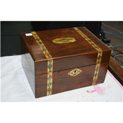 Antique rosewood and mother-of-pearl inlaid fitted writing box with inset cameo and bandings