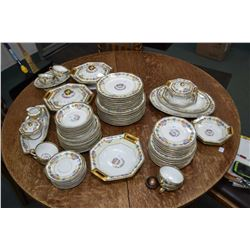 """Selection of vintage Limoges """"Cheverny"""" china tableware including eight each of dinner, lunch, bread"""