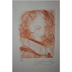 "Framed sanguine etching ""self-portrait"" pencil signed by artist Salvador Dali, 65/150. 14"" X 10"""