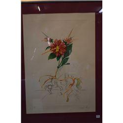 """Framed off-set coloured lithograph """"Dahlia Unicornis"""" pencil signed by artist Salvador Dali, 63/200,"""