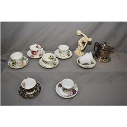 Two tray lots including eight china cups and saucer including Royal Albert, Windsor etc. plus a smal