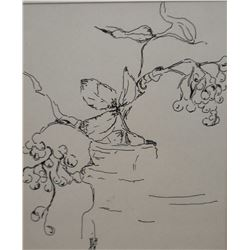 Two framed works of art including line art still-life signed by artist and a limited edition print o