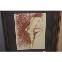 """Three framed vintage lithographs including two nudes an a abstract, all approximately 10"""" X 8"""""""