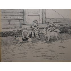 """Framed black and white lithograph titled """"Pet's Corner"""" by artist Jacqueline Murray, fall '78, 15"""" X"""