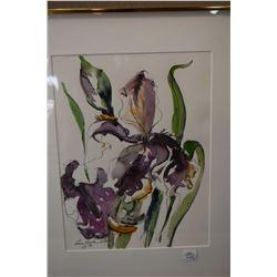 Two framed original floral still-life watercolours, both signed by artist Eileen Raucher Sutton '88,