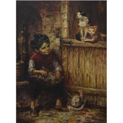 """Framed oil on canvas painting of a boy with barn cats by artist Willi dePre, 32"""" X 23"""""""