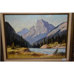 """Framed oil on canvas painting of a mountain and lake scene by artist Roland Gissing, 12"""" X 15 1/2"""""""