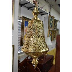 "Vintage 24"" pierced brass hanging swag lamp"
