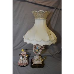 """Vintage Italian figurine of a maiden with baskets, 11"""" in height plus a highly decorative porcelain"""