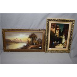 Two original works of art including framed pastel on paper mountainous landscape signed by artist Ch
