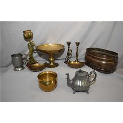 Two tray lots of metal ware including Nouveau style figure on a wooden base, pewter tea pot, double