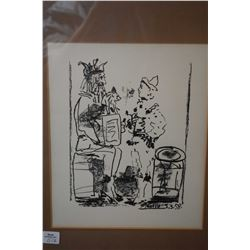 "Framed lithograph of harlequin figures by Picasso, 10 1/2"" X 8 1/2"""