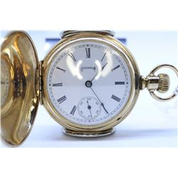 Columbus size 6, 11 jewel pocket watch. Model 1, serial #330026, circa 1895. 3/4 gilt plate stem win