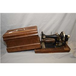 Antique cast portable sewing machine in inlaid wooden carry case made by Naaimachines, Amsterham