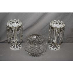 "Pair of antique cased white cut to clear girandoles with hanging lustres 11"" in height and a quality"