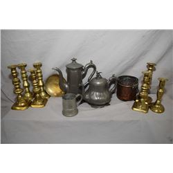 Large selection of vintage and antique metal ware including pewter tea pot and cocoa pot, brass cand