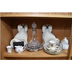 Shelf lot of vintage and antique collectibles including pair of Staffordshire style dogs, Torquay wa
