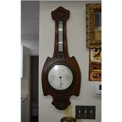 Antique Art Nouveau oak barometer and mercury thermometer, marked T. Baird & Sons, Glasgow