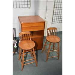 Pair of small maple breakfast stools and a record cabinet, sans interior
