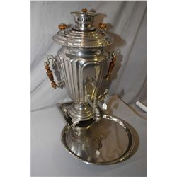 "Antique Victorian Russian nickel plated (?) Samovar 23"" in height with full size drip tray"