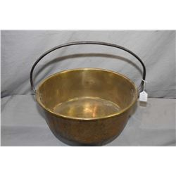 "Antique brass jelly pan with hand hammered steel handle 16"" in diameter"