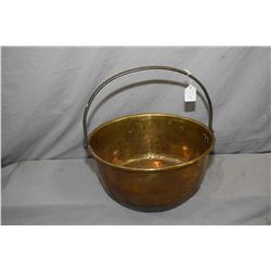 "Antique brass jelly pan with hand hammered steel handle 14"" in diameter"
