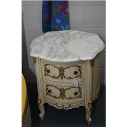 Pair of French provincial marble top night tables
