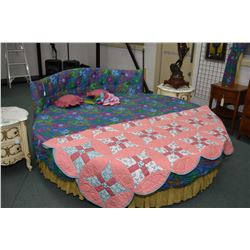 "Vintage 81"" diameter round bed with curved headboard and matching valance set and bedding"