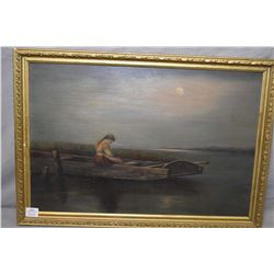 "Antique gilt framed oil on board painting titled on verso ""Alone"" marked on verso ""This was the firs"