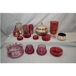 Selection of vintage coloured glass including cranberry, hand painted drinking glass, bas relief fig