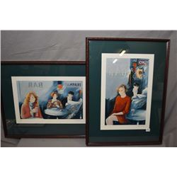 Two framed limited edition cafe scene prints both pencil signed by artist
