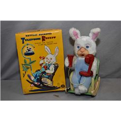 "Vintage Japanese tin battery operated ""Telephone Rabbit"" with ringing, talking and rocking motion, i"