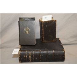 Two antique hardcover prayer books including leather bound book dating 1753, a German prayer book wi