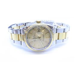 Gent's Rolex model #16033/3 Oyster Perpetual datejust, stainless steel case with yellow gold fluted