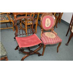Two antique side chairs including one with needlepoint seat and back and one with spiral twist back