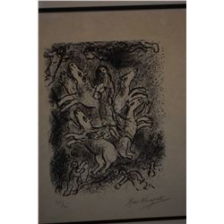 Framed limited edition lithograph of winged horses ( Four horses of the Apocalypse) signed by artist
