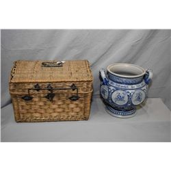 """Antique salt glazed German double handle jardiniŠre 10"""" in height and an interested antique woven li"""