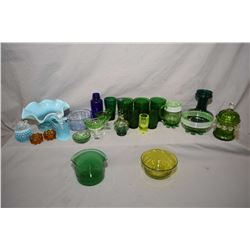 Two tray lots of vintage and antique glass including Vaseline, enamelled Kelly green, footed pitcher