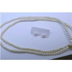 """Ladies 16"""" double strand pearl necklace with 14kt yellow gold clasp and a pair of pearl stud earring"""