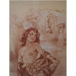 """Original sanguine chalk drawing of a nude by French artist Yves Diey, 13 1/2"""" X 10"""""""