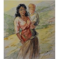"""Framed original watercolour painting of a mother and child by French arist Yves Diey, 10"""" X 8 1/2"""""""