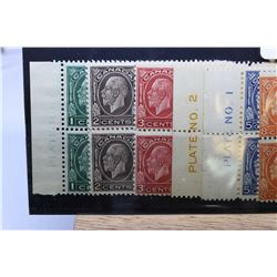 """Six sets of four joined Canadian postage stamp sets, each with one side margin, all """"King George V'"""
