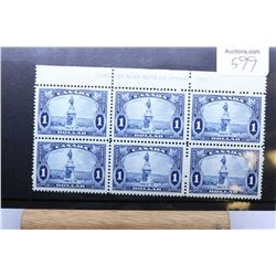 """Set of six joined non-circulated 1935 one dollar postage stamps, """"Champlain Monument"""" , in very fine"""