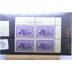 """Set of four joined Canadian 50 cent postage stamps George VI """"Canadian Munitions Factory"""" scott no."""