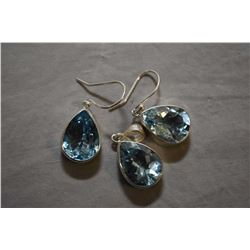 Sterling silver and blue topaz gemstone earrings with matching pendant