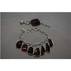 Sterling silver and red cherry amber bracelet and co-ordinating pendant