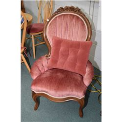Two Victorian style channel back parlour chairs including his and hers with carved floral decoration